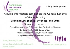 Invite to RCNI Seminar on forthcoming Criminal Law (Sexual Offences) Bill 2015 - April 23